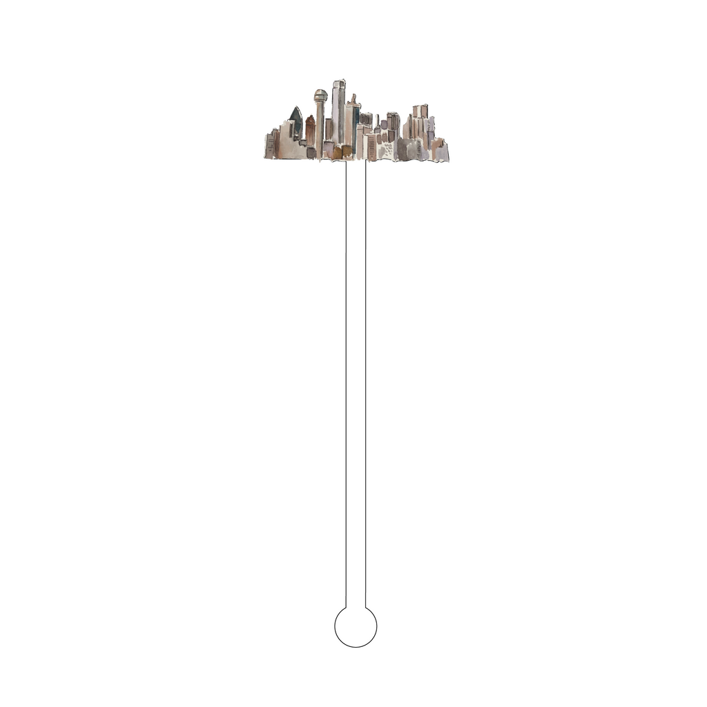 DALLAS SKYLINE ACRYLIC STIR STICK