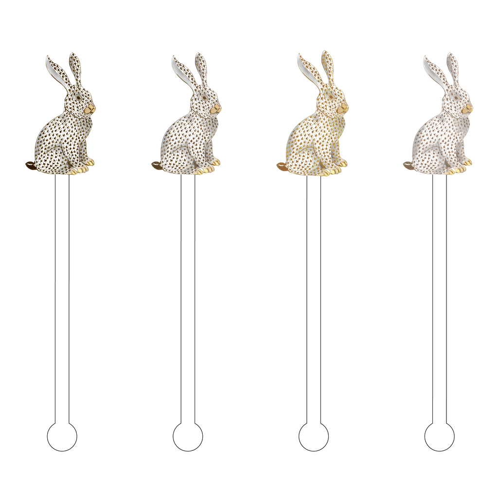 CHOCOLATE OMBRE HEREND BUNNY ACRYLIC STIR STICKS COMBO*