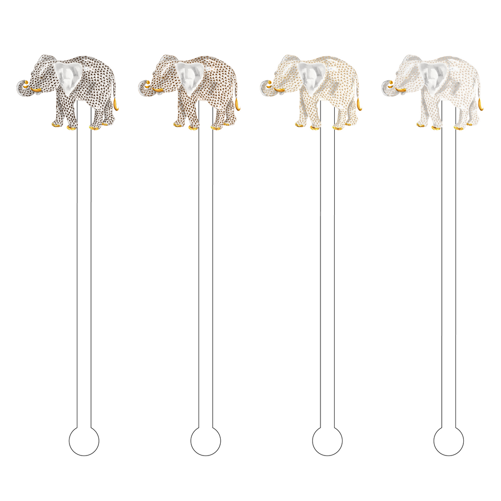 CHESTNUT OMBRE HEREND ELEPHANT ACRYLIC STIR STICKS COMBO*