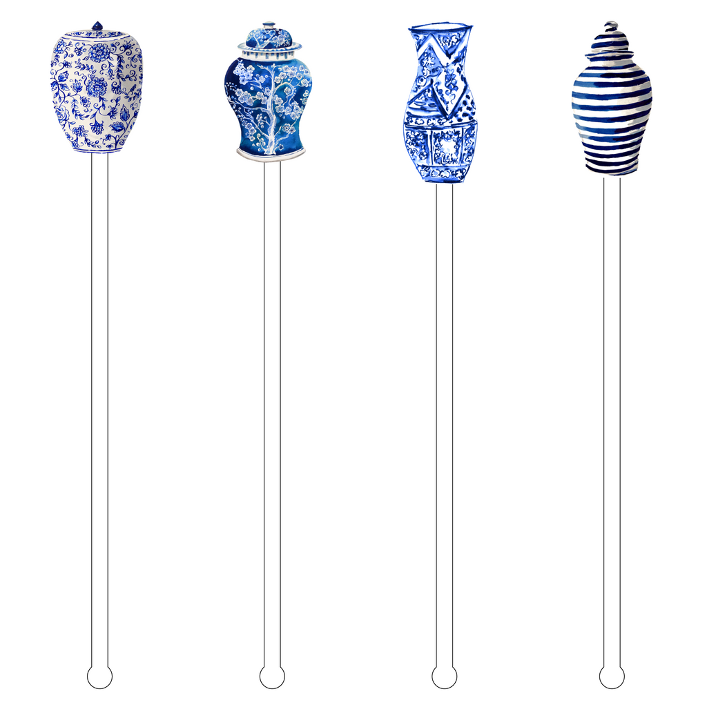 I LOVE BLUE & WHITE GINGER JARS 'BUBBLY'S' ACRYLIC DRINK MARKERS