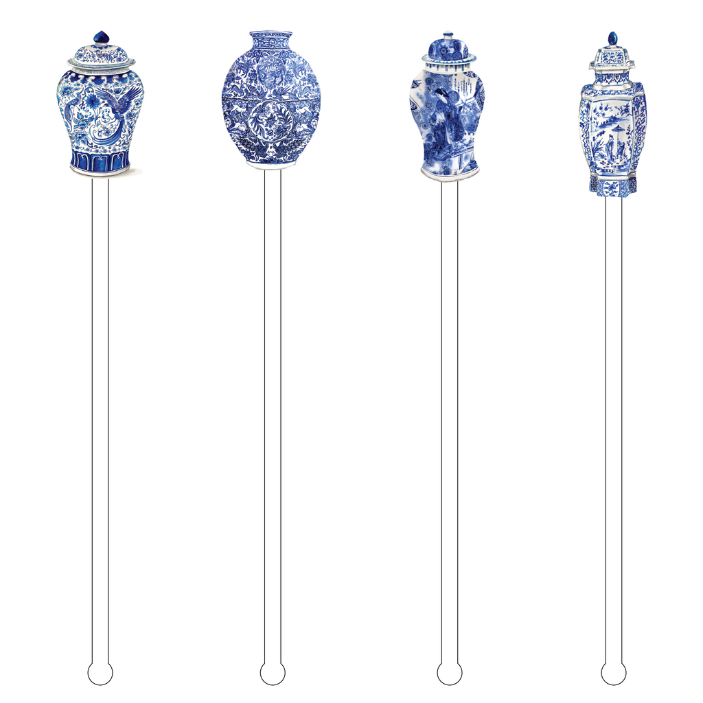 BLUE & WHITE GINGER JARS 'BUBBLY'S' ACRYLIC DRINK MARKERS