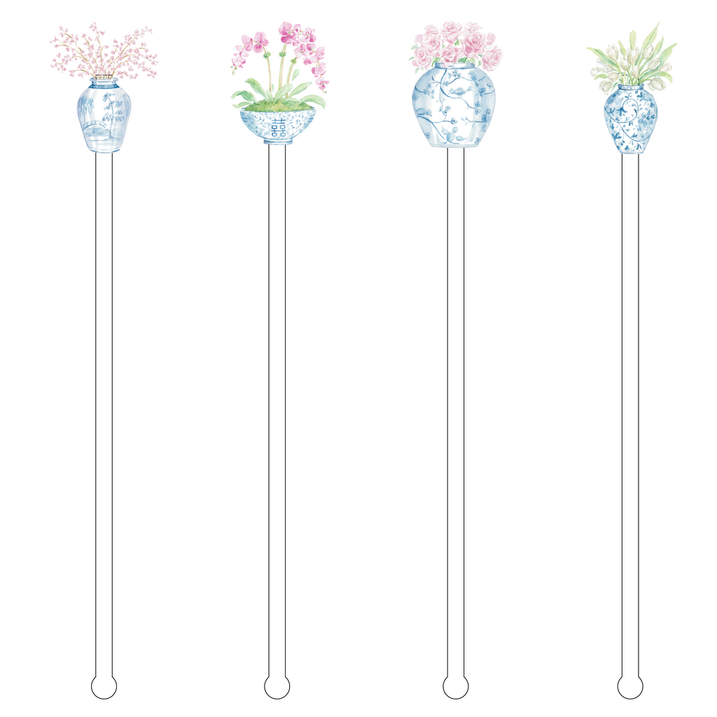 FLOWER LOVERS GINGER JAR 'BUBBLY'S' ACRYLIC DRINK MARKERS