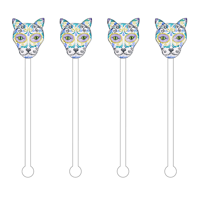 CAT SUGAR SKULL ACRYLIC STIR STICKS