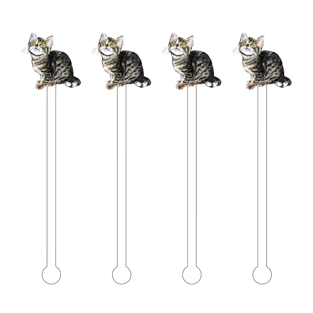 BENGAL CAT SITTING ACRYLIC STIR STICKS