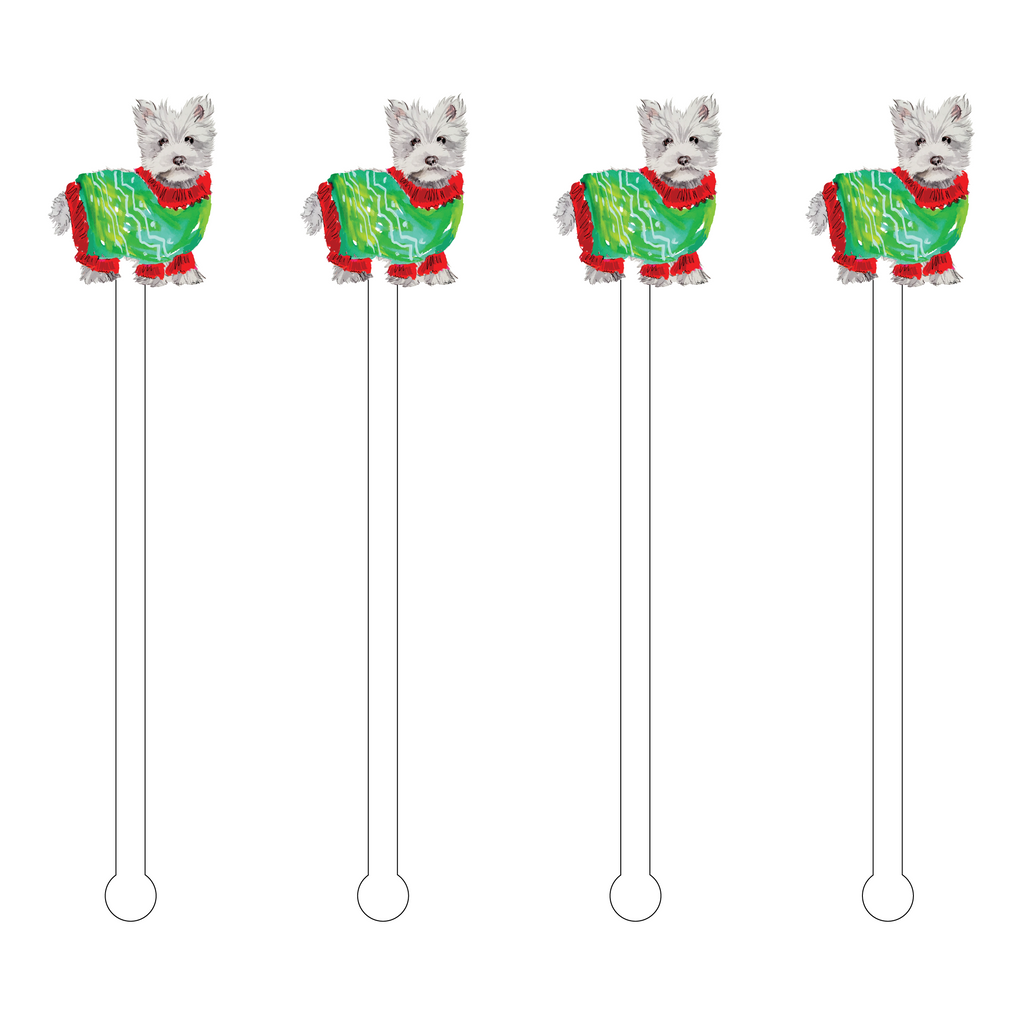 CHRISTMAS MALTESE/SCOTTY ACRYLIC STIR STICKS