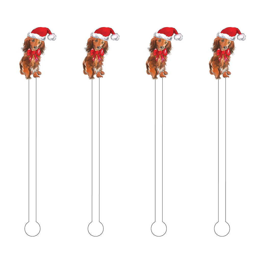 CHRISTMAS GOLDENDOODLE ACRYLIC STIR STICKS