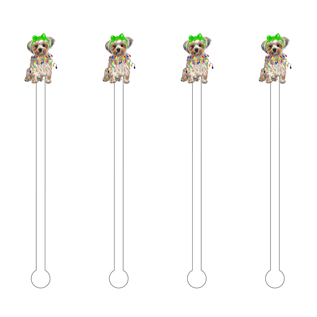 CHRISTMAS SILVER YORKIE ACRYLIC STIR STICKS