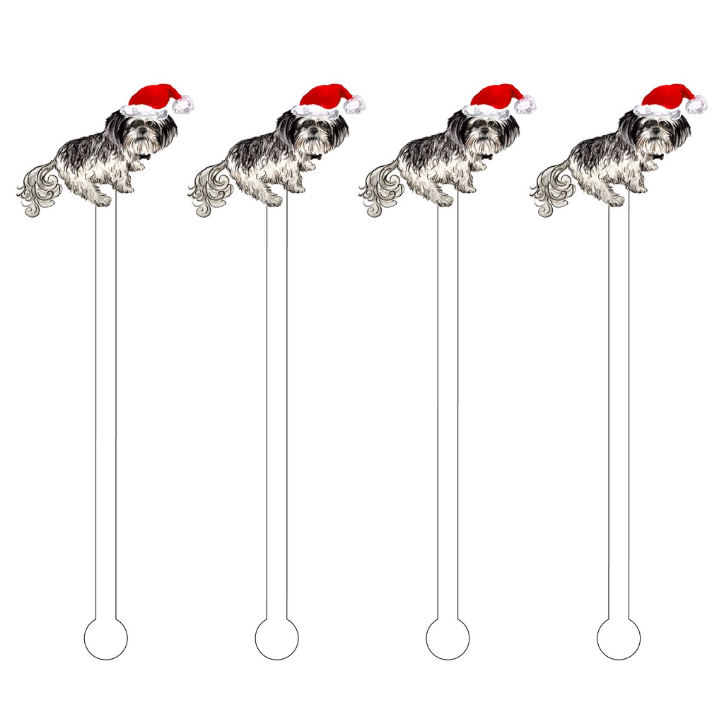 CHRISTMAS SALT & PEPPER SHIH TZU ACRYLIC STIR STICKS