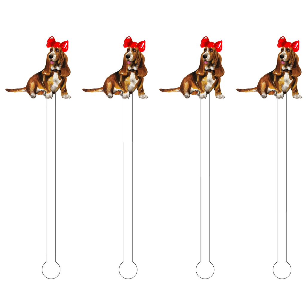 CHRISTMAS HOUND DOG ACRYLIC STIR STICKS
