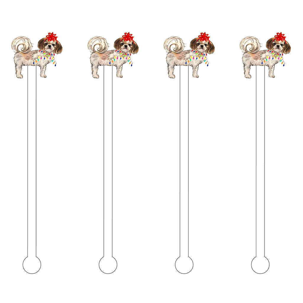 CHRISTMAS CURLY TAILED SHIH TZU ACRYLIC STIR STICKS
