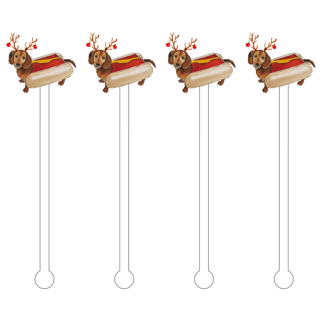 CHRISTMAS WEINER DOG ACRYLIC STIR STICKS
