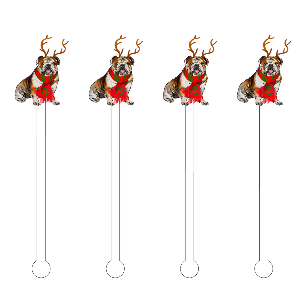 CHRISTMAS ENGLISH BULLDOG ACRYLIC STIR STICKS
