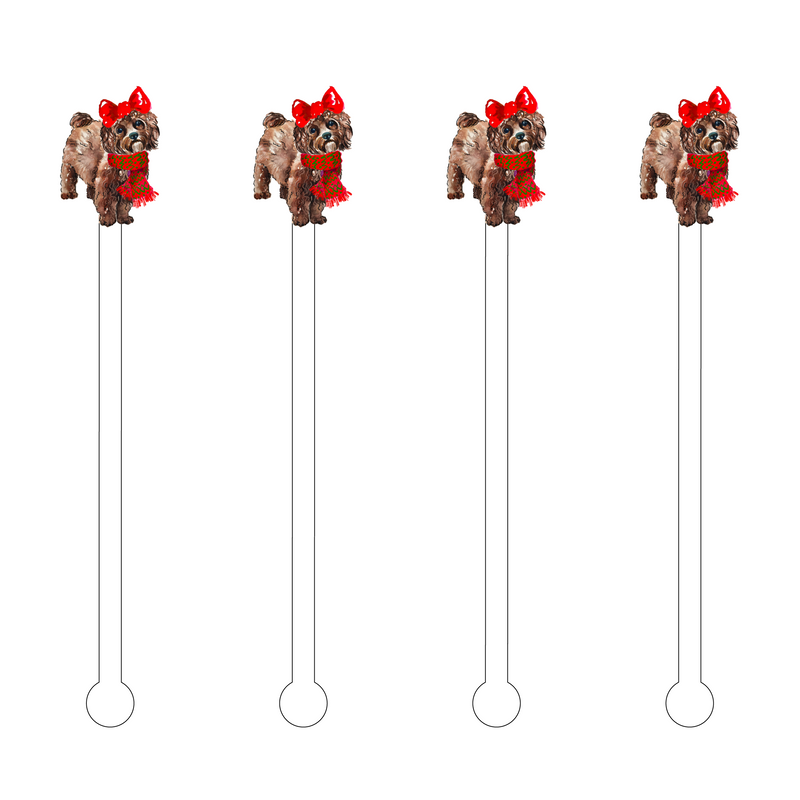 CHRISTMAS CHOCOLATE MALTIPOO ACRYLIC STIR STICKS