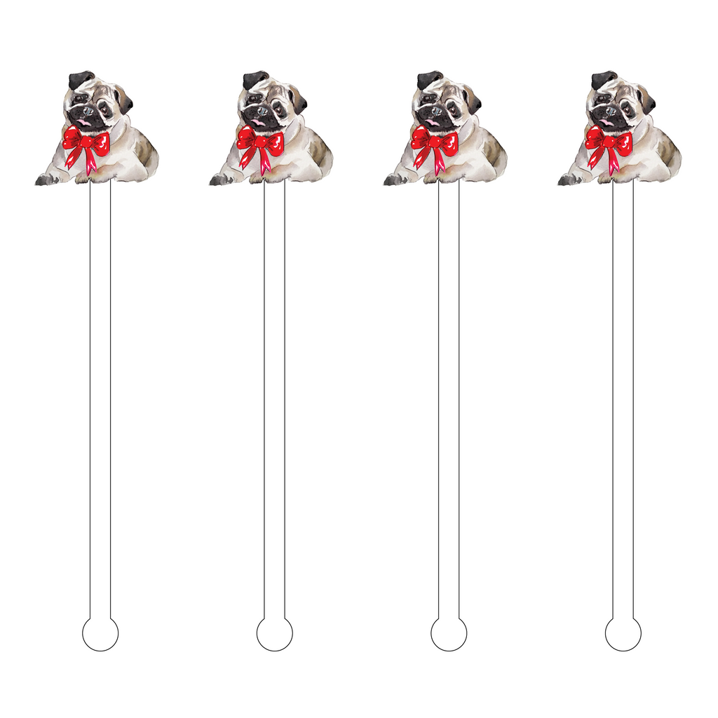 CHRISTMAS BOW PUG ACRYLIC STIR STICKS