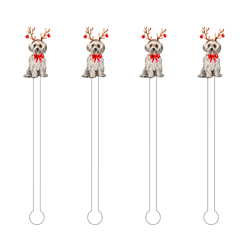 CHRISTMAS BLONDE MORKIE ACRYLIC STIR STICKS