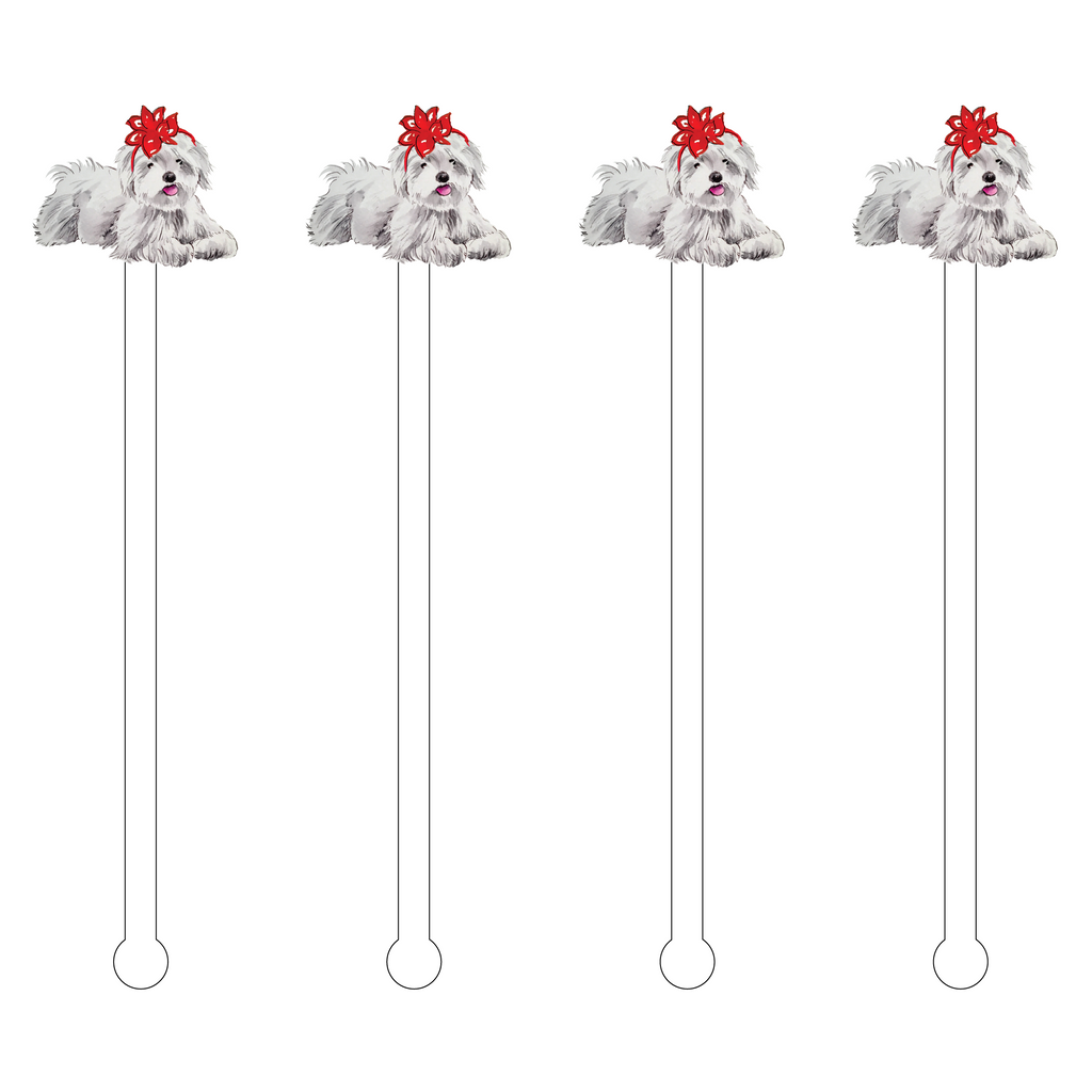 CHRISTMAS BOW MALTESE ACRYLIC STIR STICKS