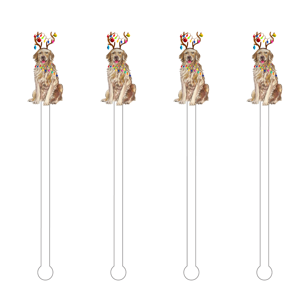 CHRISTMAS LIGHTS GOLDEN RETRIEVER ACRYLIC STIR STICKS
