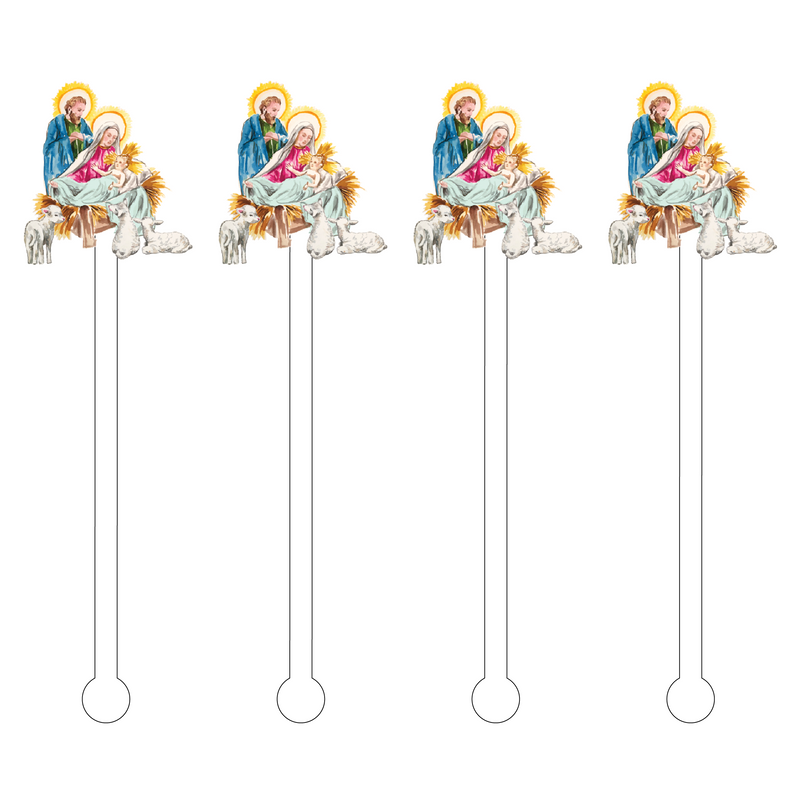NATIVITY SCENE ACRYLIC STIR STICKS