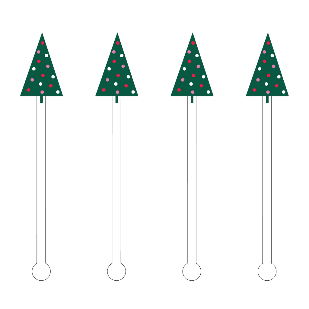 FESTIVE DECO XMAS TREE ACRYLIC STIR STICKS