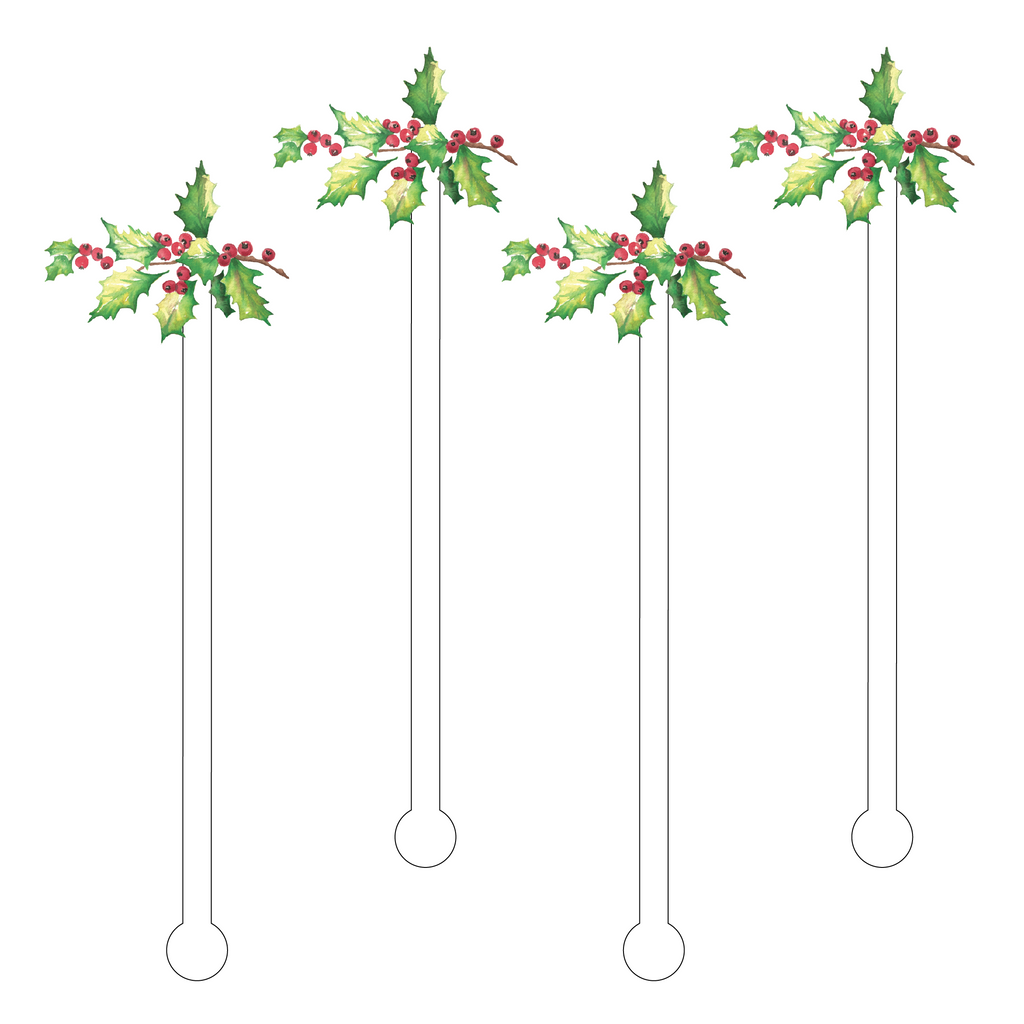 CHRISTMAS HOLLY ACRYLIC STIR STICKS