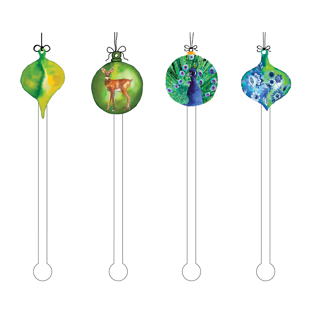 GREEN ORNAMENTS ACRYLIC STIR STICKS COMBO