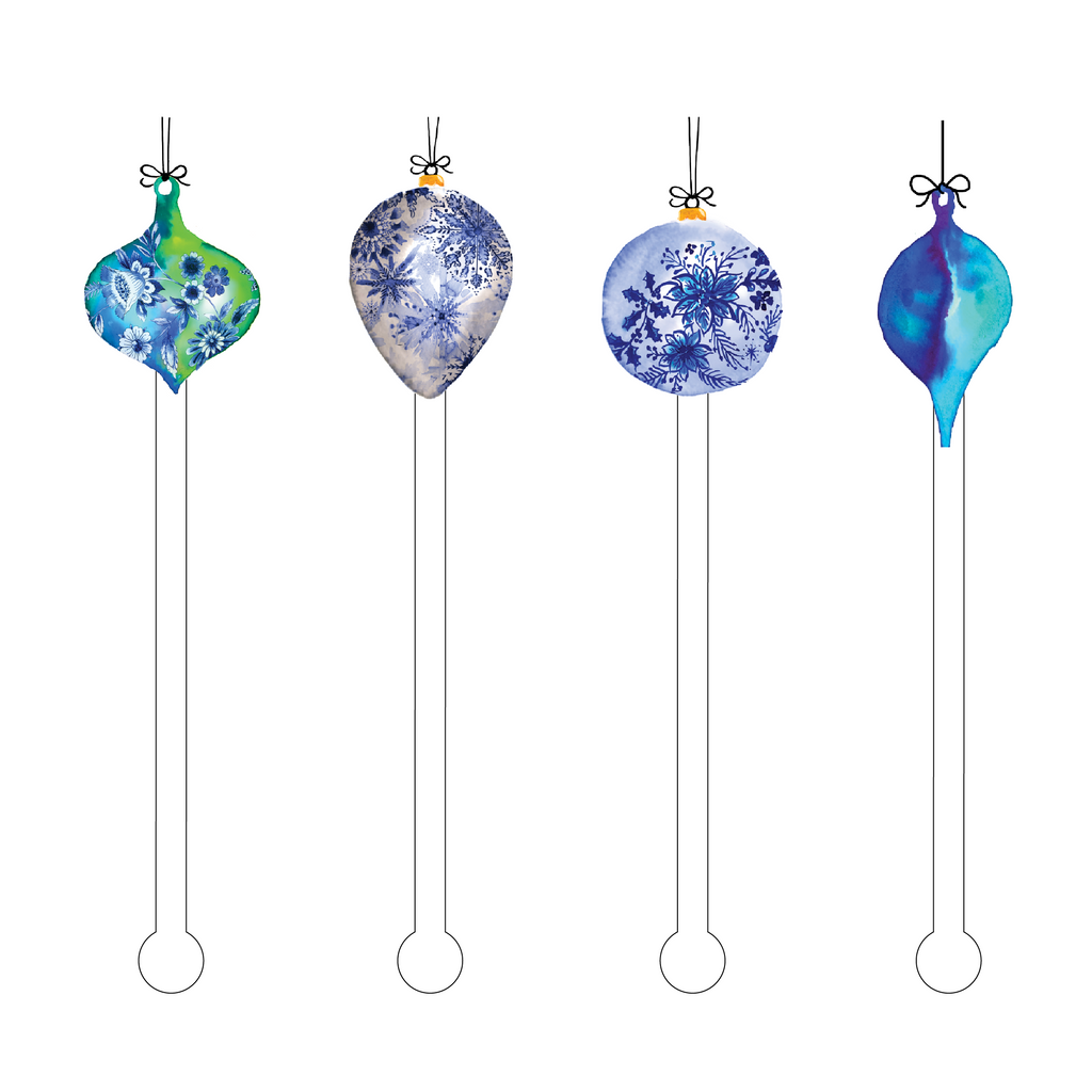 HOLIDAY BLUE ORNAMENTS ACRYLIC STIR STICKS COMBO