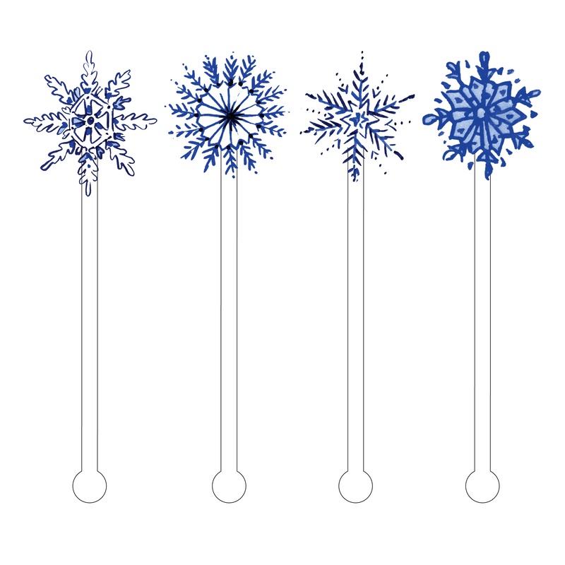 BLUE SNOWFLAKES ACRYLIC STIR STICKS COMBO