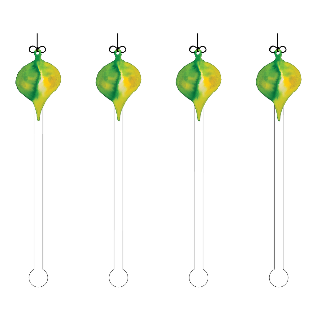 GREEN DUO ORNAMENT ACRYLIC STIR STICKS