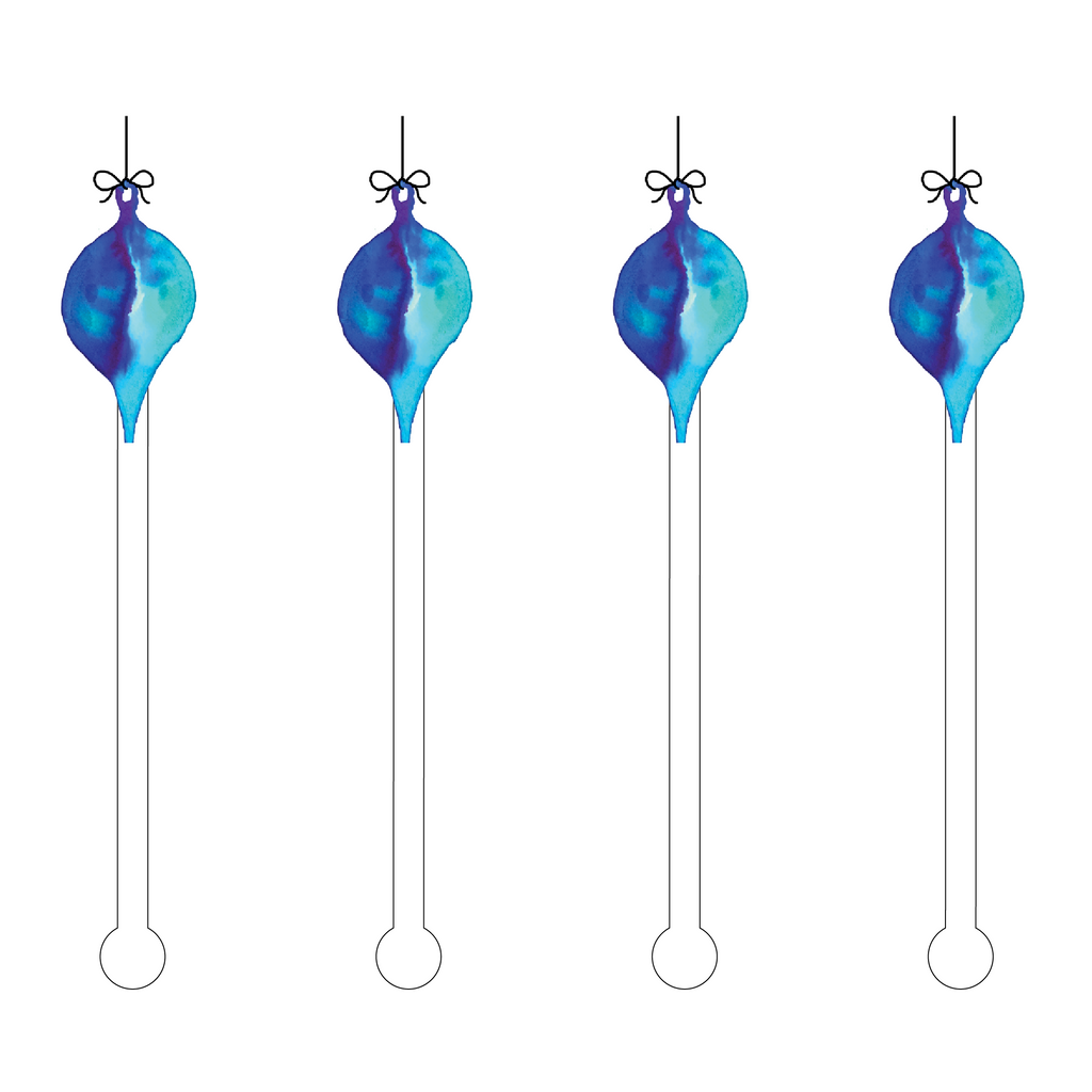 BLUE OMBRE ORNAMENT ACRYLIC STIR STICKS