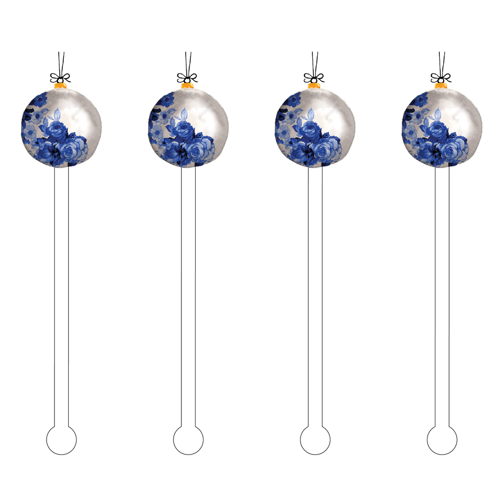 BLUE ROSES ORNAMENT ACRYLIC STIR STICKS