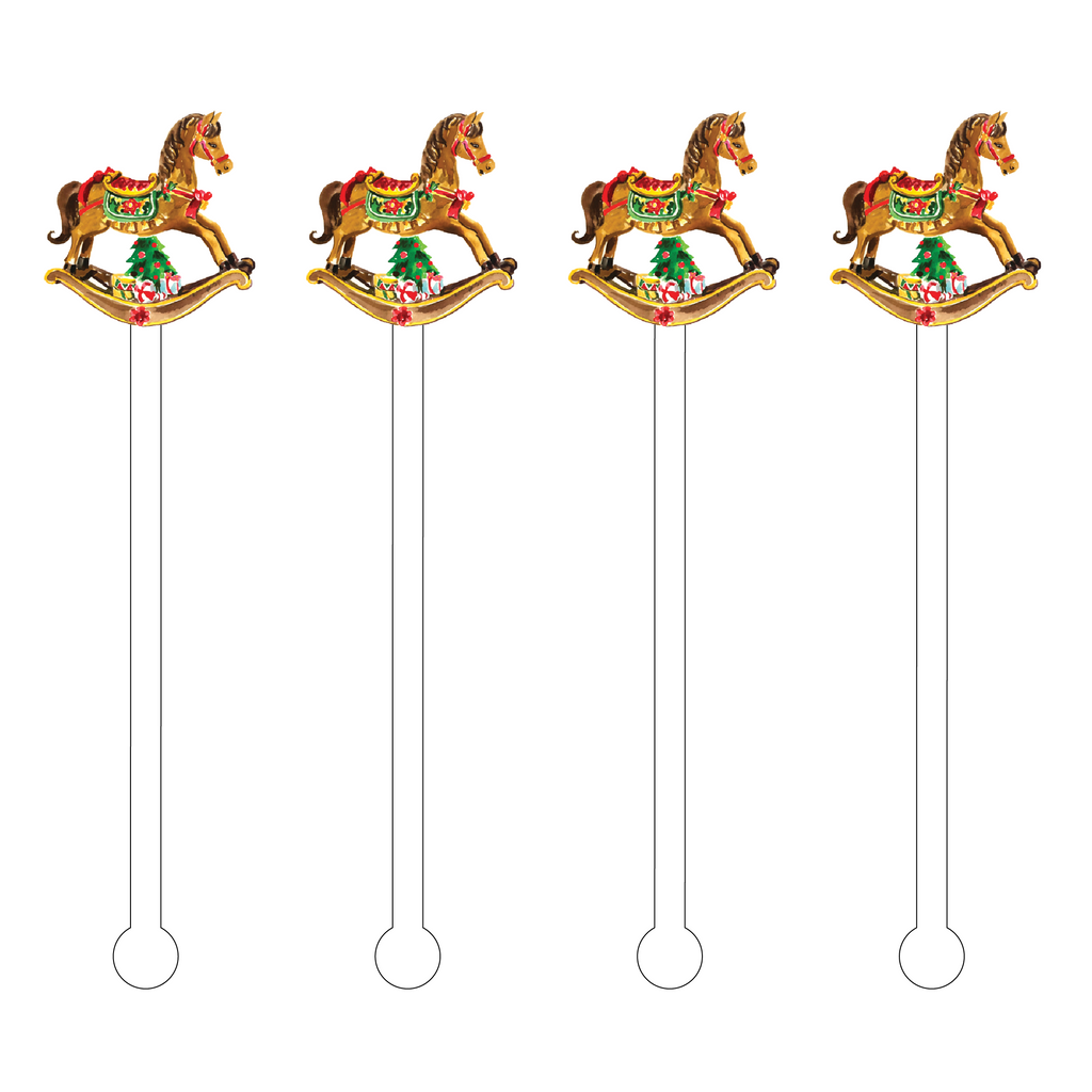 CHRISTMAS ROCKING HORSE ACRYLIC STIR STICKS