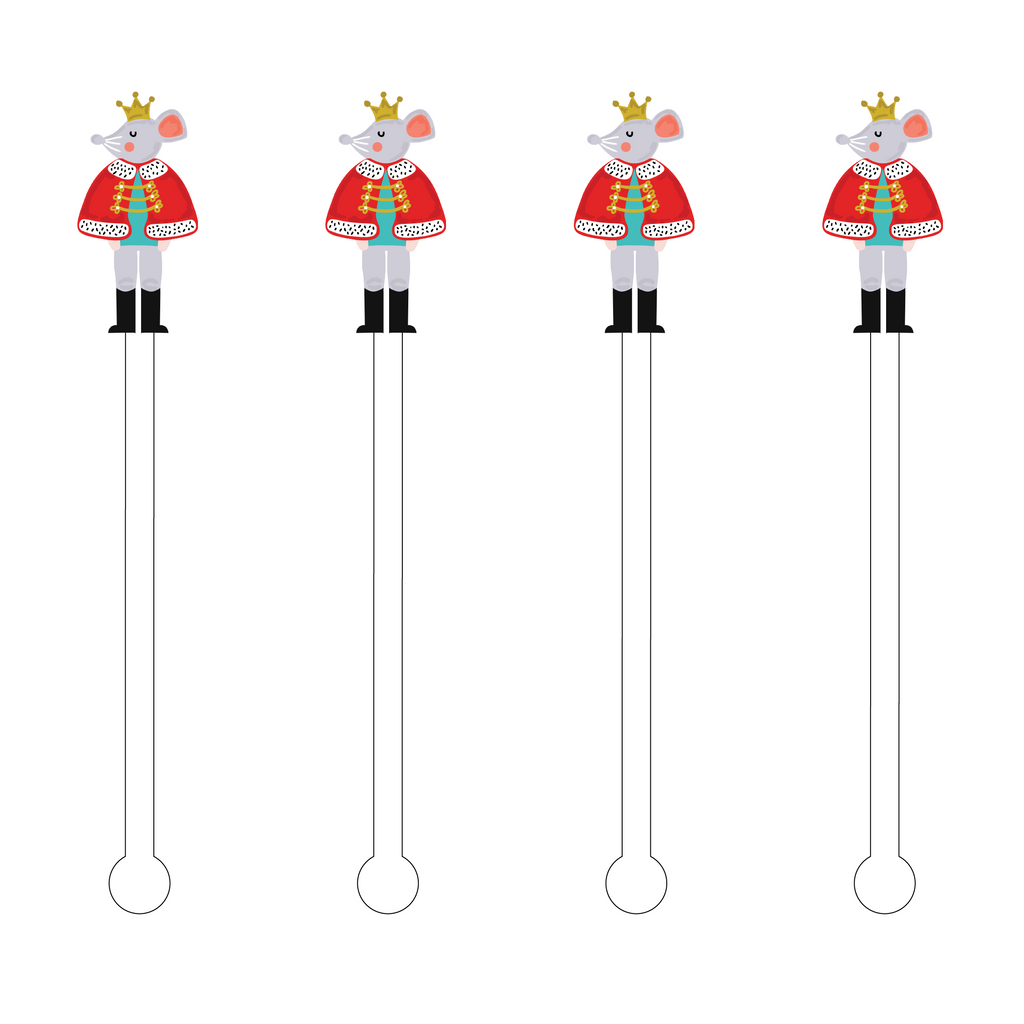 MOUSE NUTCRACKER ACRYLIC STIR STICKS