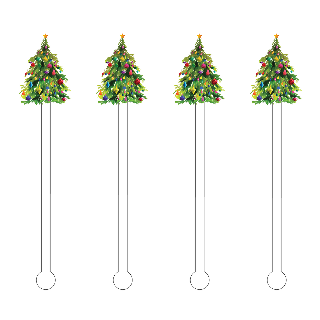 CHRISTMAS TREE ACRYLIC STIR STICKS