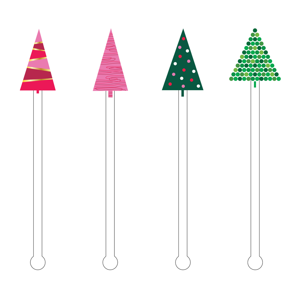 CHRISTMAS TREES ACRYLIC STIR STICKS COMBO