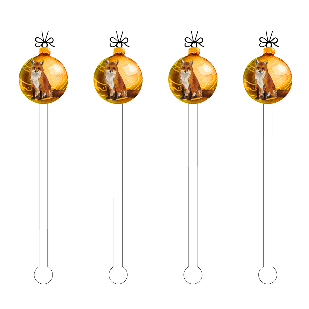 GOLDEN FOX ORNAMENT ACRYLIC STIR STICKS