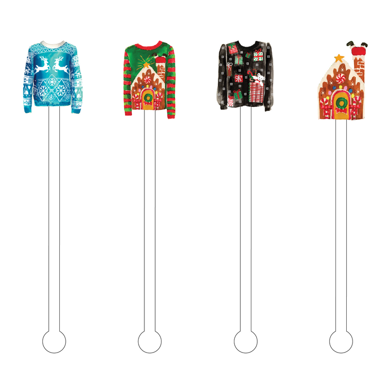 UGLY SWEATERS ACRYLIC STIR STICKS COMBO