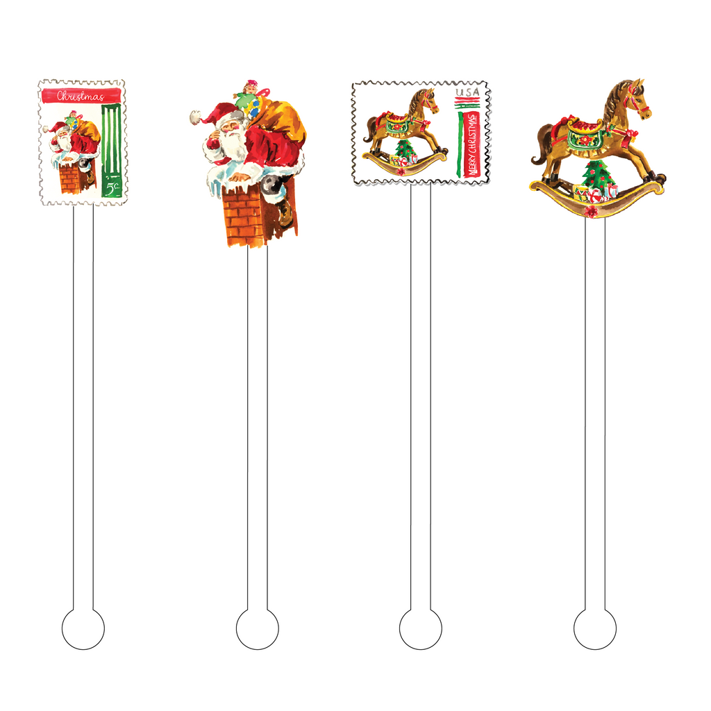 VINTAGE XMAS STAMP COLLECTION ACRYLIC STIR STICKS COMBO