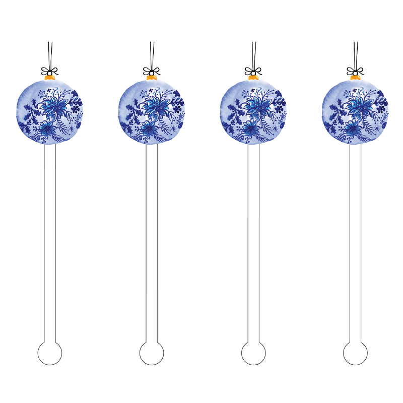 BLUE FLOWERS ORNAMENT ACRYLIC STIR STICKS