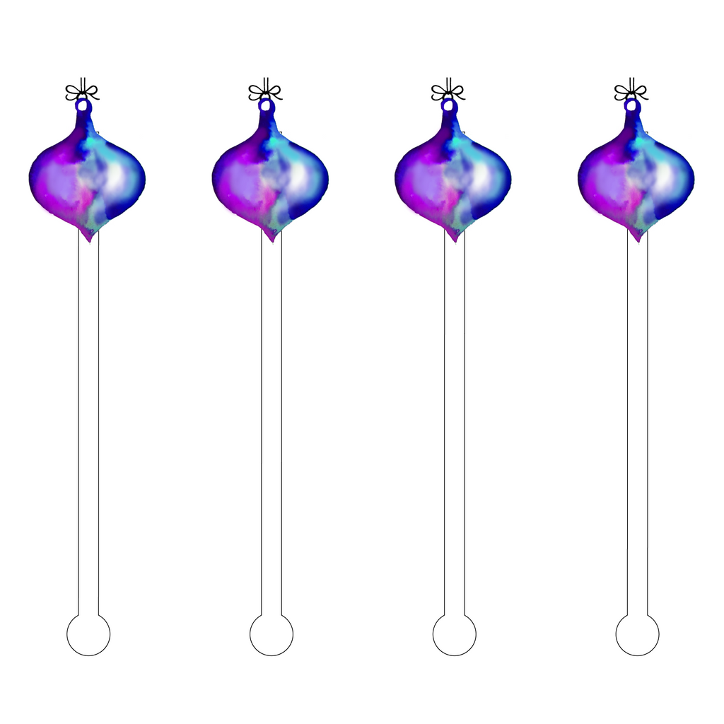 PLUM OMBRE ORNAMENT ACRYLIC STIR STICKS