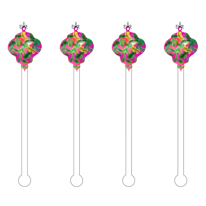 TROPICAL AUBERGINE ORNAMENT ACRYLIC STIR STICKS