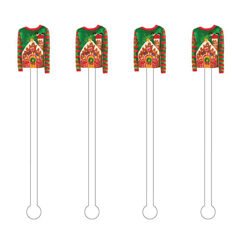 UGLY SWEATER GINGERBREAD HOUSE ACRYLIC STIR STICKS