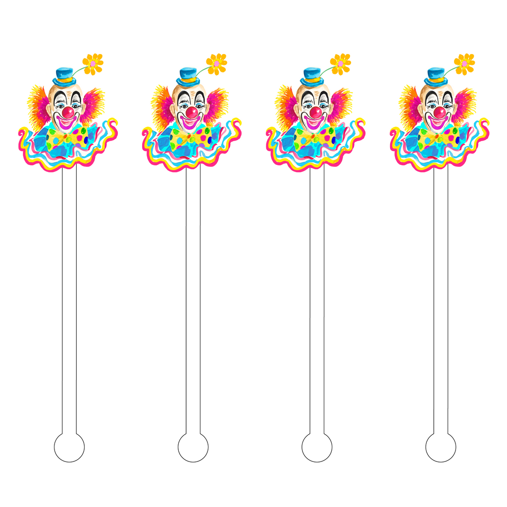 RAINBOW HAPPY CLOWN ACRYLIC STIR STICKS