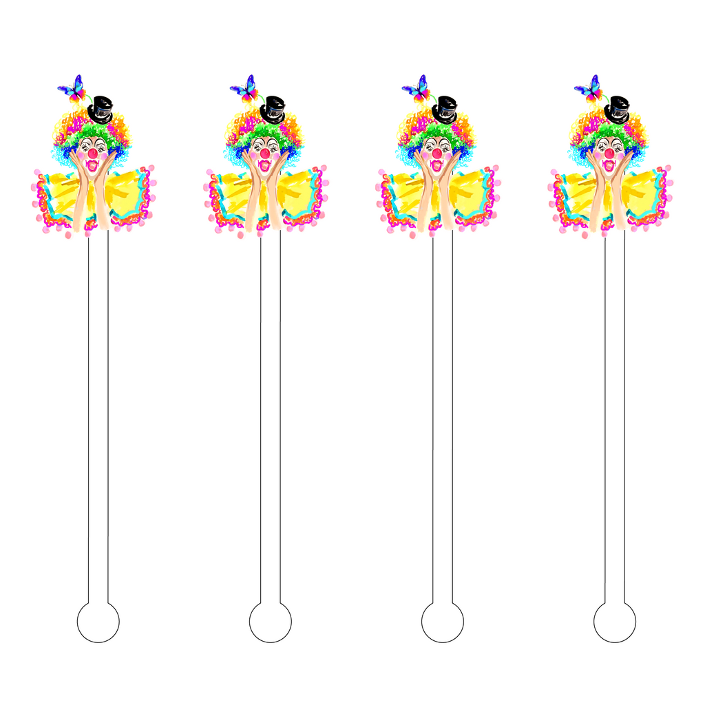 CIRCUS CLOWN ACRYLIC STIR STICKS