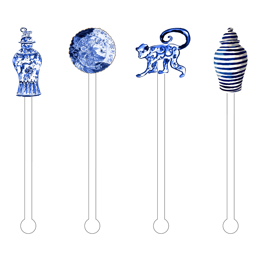 BLUE & WHITE LIVING ACRYLIC STIR STICKS COMBO