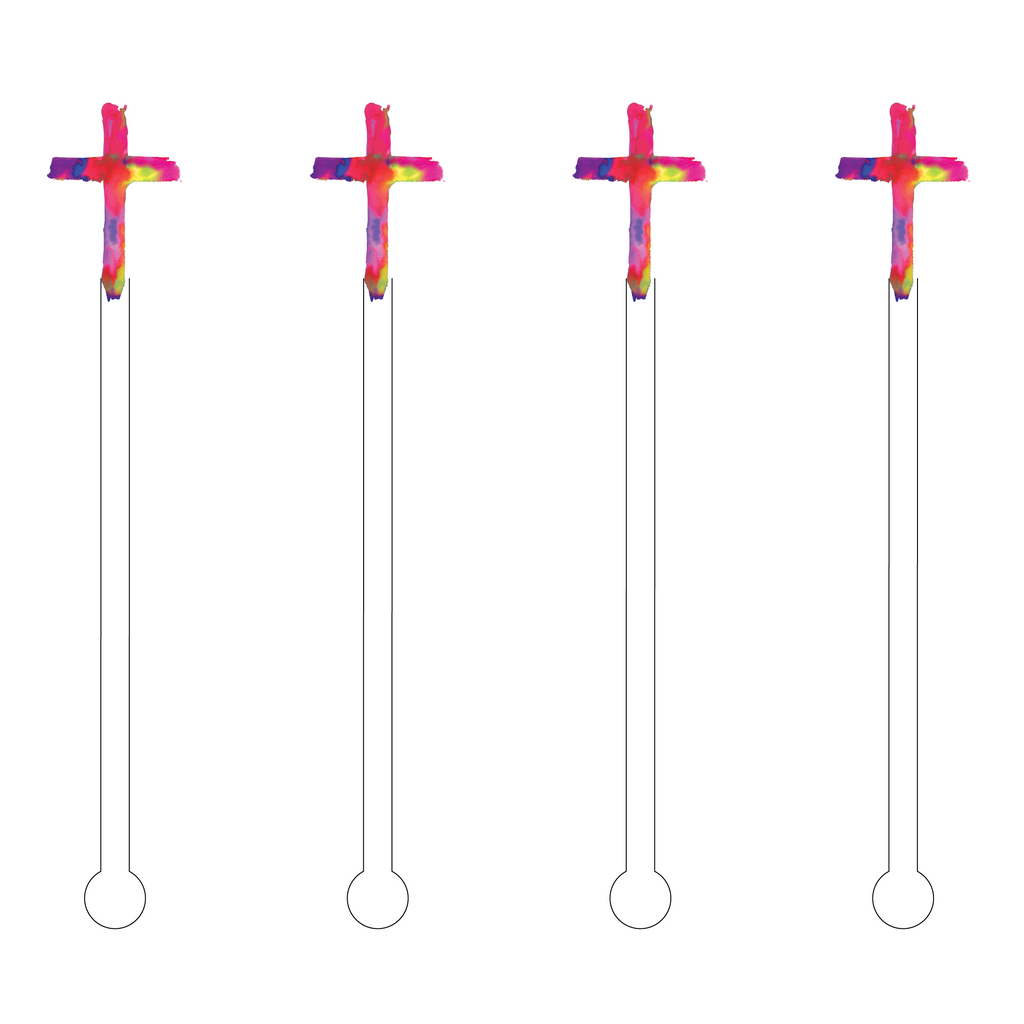 MULTICOLOR CROSS ACRYLIC STIR STICKS