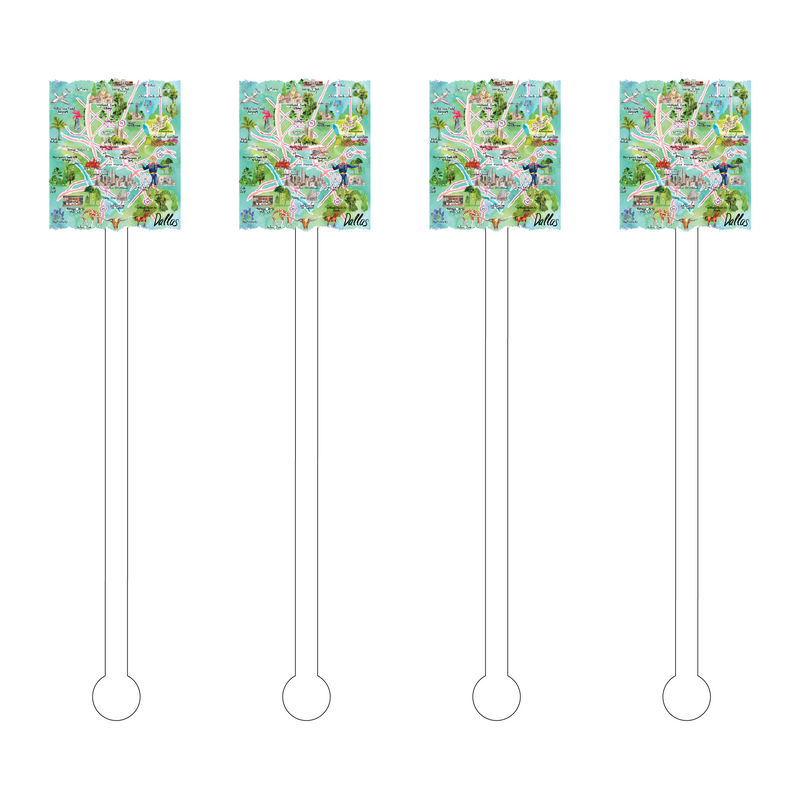DALLAS MAP ILLUSTRATION ACRYLIC STIR STICKS