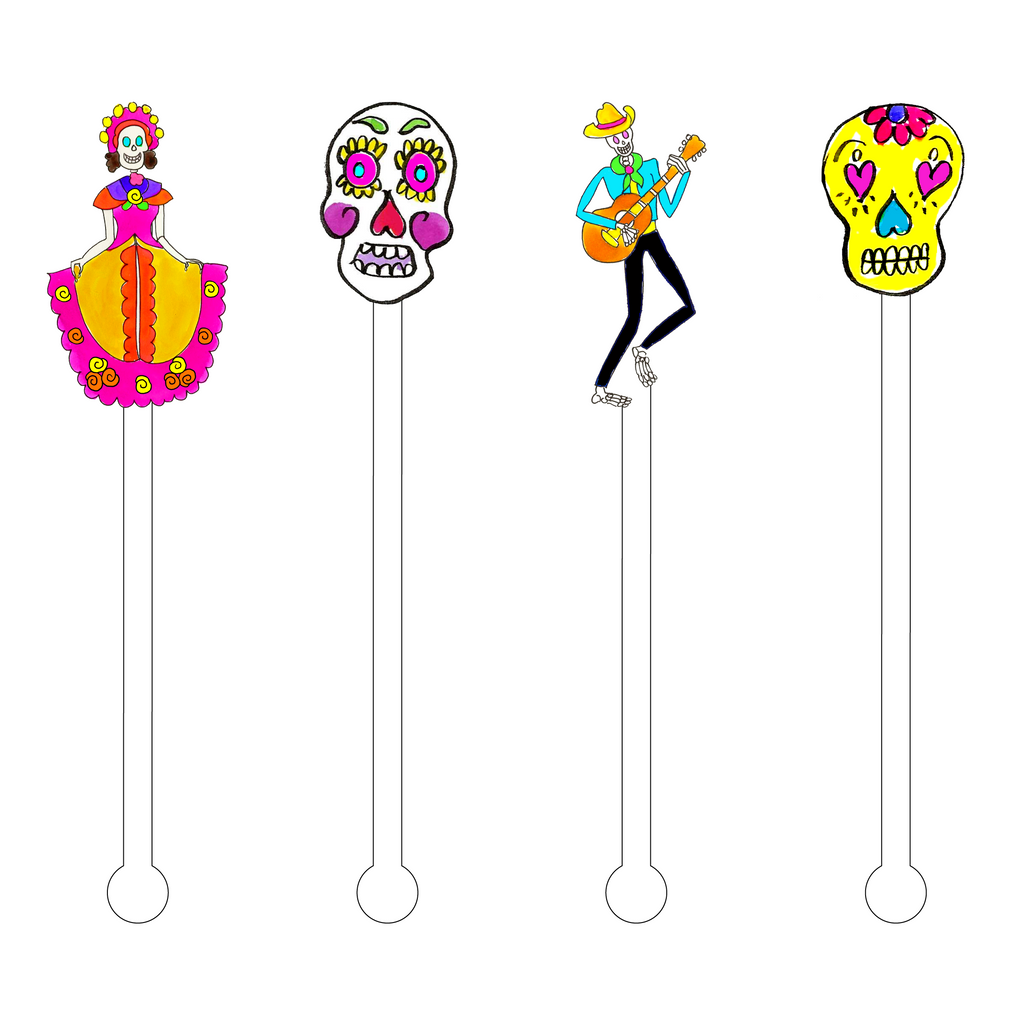 DAY OF THE DEAD ACYLIC STIR STICKS COMBO