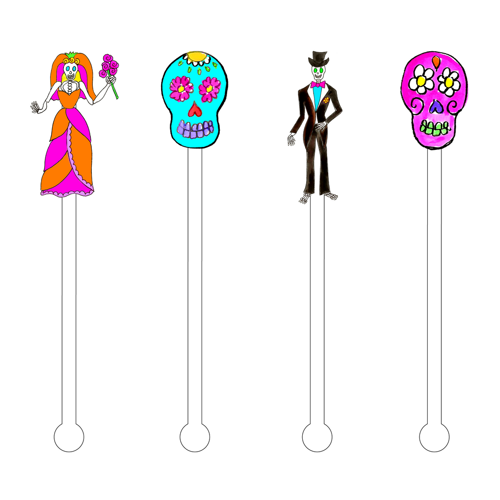 DAY OF THE DEAD WEDDING ACRYLIC STIR STICKS COMBO