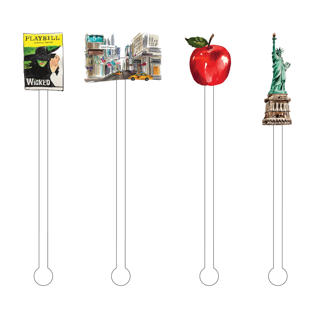 I LOVE NEW YORK ACRYLIC STIR STICKS COMBO