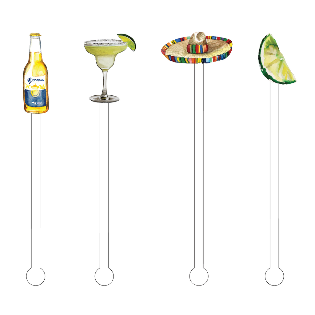 MARGARITAS IN MEXICO ACRYLIC STIR STICKS COMBO